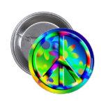 Peace Sign Flower Power Hippie Button