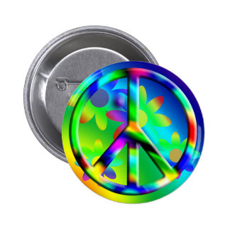 Peace Sign Flower Power Hippie Button