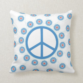 Peace Sign Flowers Throw Pillow