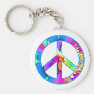 Peace Sign Fractal Keychain