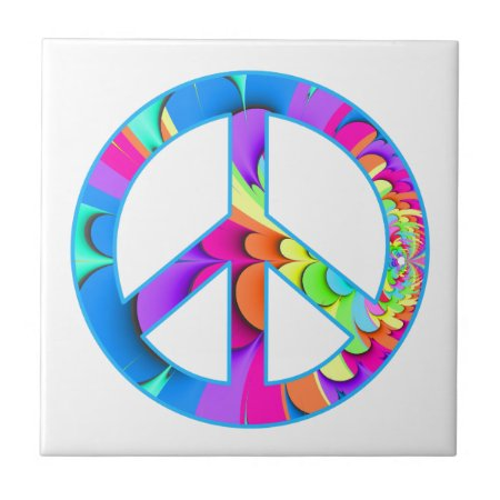 Peace Sign Fractal Summer Palette Ceramic Tile