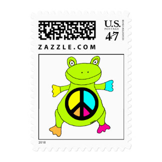 Peace Sign Frog Postage Stamp