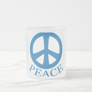 Peace Sign Frosted Glass Coffee Mug