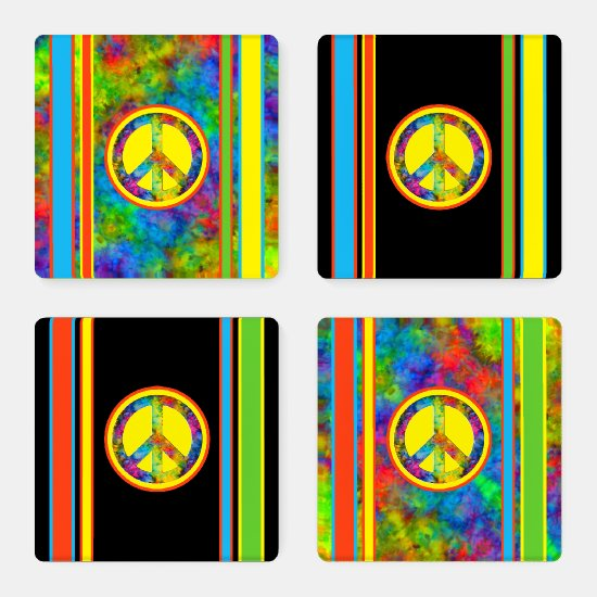 [Peace Sign] Geometric Rainbow Tie-Dye Acrylic Coaster Set