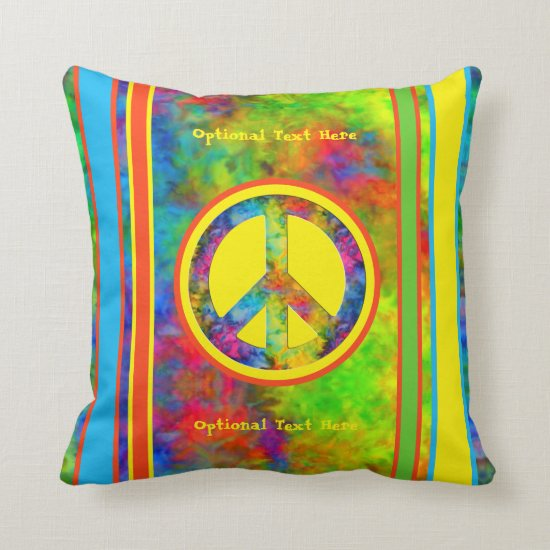 [Peace Sign] Geometric Rainbow Tie-Dye Throw Pillow
