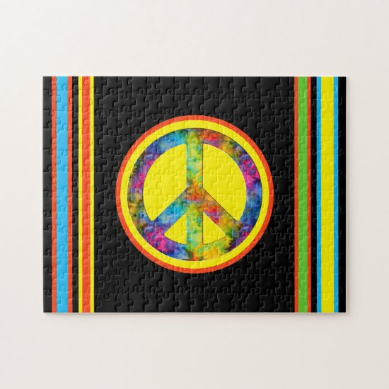 [Peace Sign] Geometric Tie-Dye Black Jigsaw Puzzle