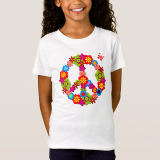 Peace Sign Girl's Baby Doll Fitted T-shirt