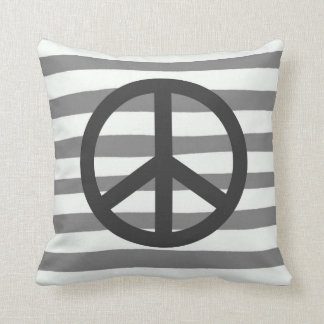Peace Sign Gray and White Stripe Throw Pillow