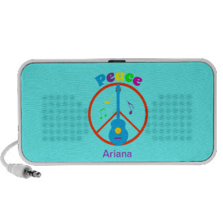 Peace Sign Guitar and Music Notes Mini Speaker