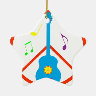 Peace Sign Guitar and Music Notes Double-Sided Star Ceramic Christmas Ornament