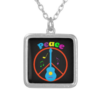 Peace Sign Guitar and Music Notes Square Pendant Necklace