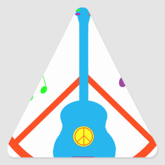 Peace Sign Guitar and Music Notes Sticker