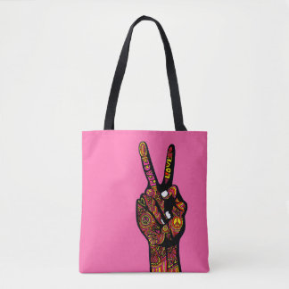 Peace Sign Hand Tote Bag