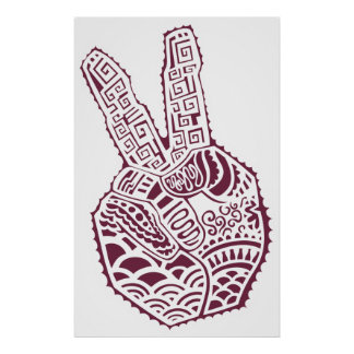 Peace Sign Henna Tat Hand Poster