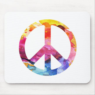 Peace Sign Hippie Girl 70s Watercolor Art Mouse Pad
