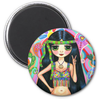 Peace Sign Hippie Girl Magnet