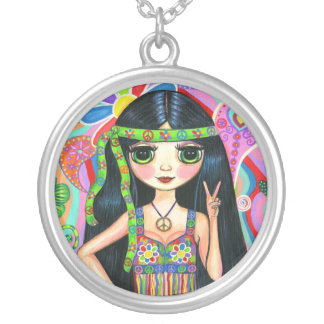 Peace Sign Hippie Girl Necklace
