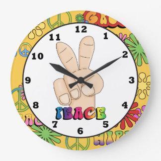 Peace Sign Hippie wall clock