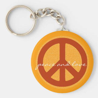 peace sign, hippies retro keychain