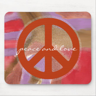 peace sign, hippies retro mouse pad