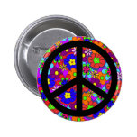 Peace Sign Hippy Flowers Retro 2 Inch Round Button
