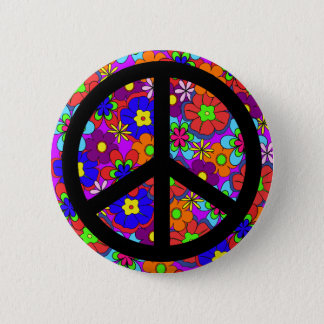 Peace Sign Hippy Flowers Retro Button