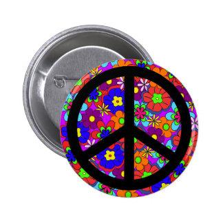 Peace Sign Hippy Flowers Retro Button