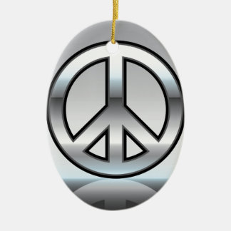 Peace sign illustration Metallic Ceramic Ornament