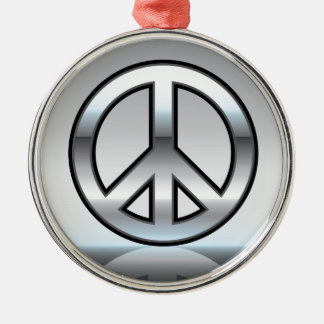 Peace sign illustration Metallic Metal Ornament