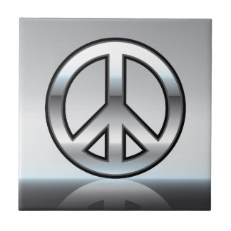 Peace sign illustration Metallic Tile