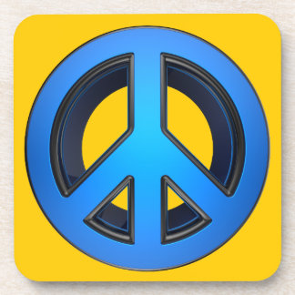 Peace sign in blue beverage coaster