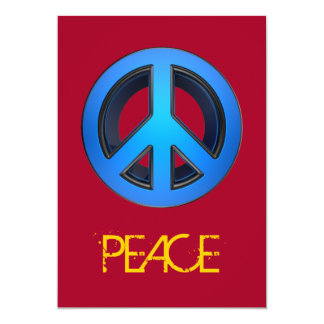 Peace sign in blue card