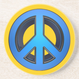 Peace sign in blue drink coaster
