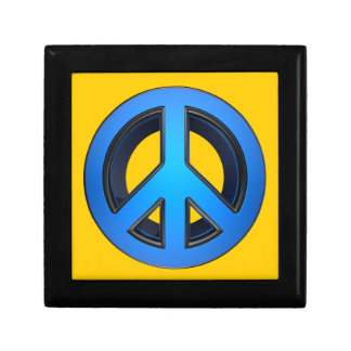 Peace sign in blue trinket box