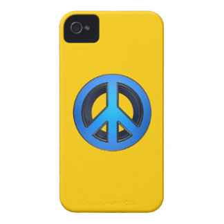Peace sign in blue iPhone 4 cover
