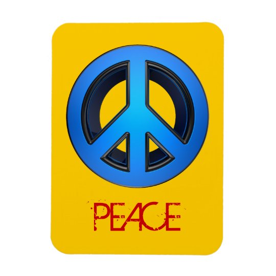 Peace sign in blue magnet