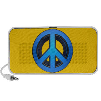Peace sign in blue PC speakers