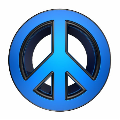 Peace sign in blue photo sculpture