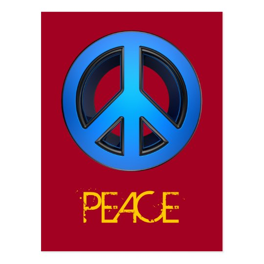 Peace sign in blue postcard