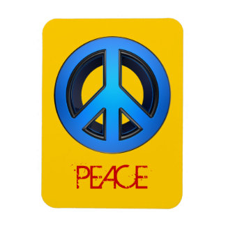 Peace sign in blue rectangular photo magnet