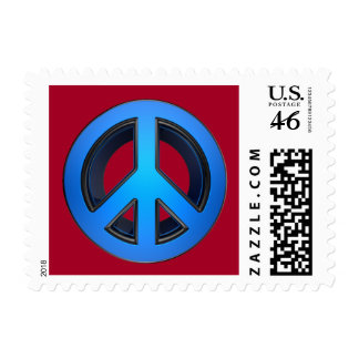 Peace sign in blue stamps