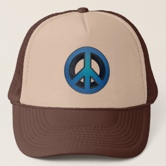 Peace sign in blue trucker hat