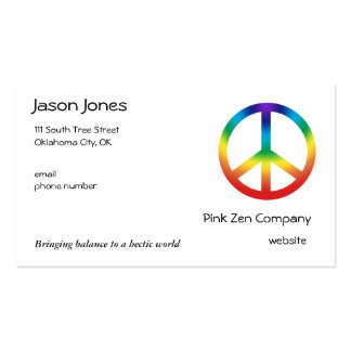 Peace Sign in Chakra Colors Double-Sided Standard Business Cards (Pack Of 100)