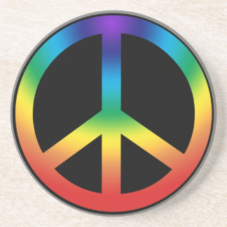 Peace Sign in Chakra Colors Drink Coaster