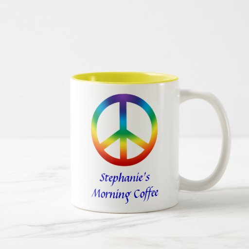 Peace Sign in Chakra Colors Mugs