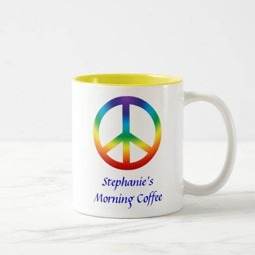 Peace Sign in Chakra Colors Two-Tone Coffee Mug