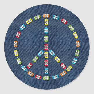 Peace Sign in Colorful Braces on Denim Classic Round Sticker