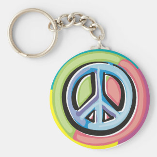 Peace Sign in Pastel Colors Basic Round Button Keychain