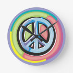 Peace Sign in Pastel Colors Round Clocks