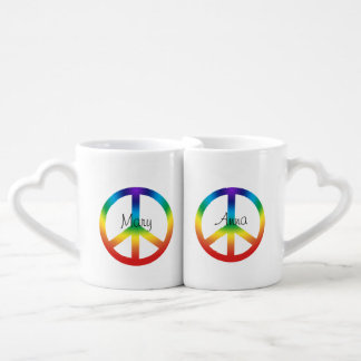 Peace Sign in Rainbow colors Coffee Mug Set